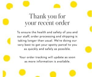 Delayed shipment message from Boden.com