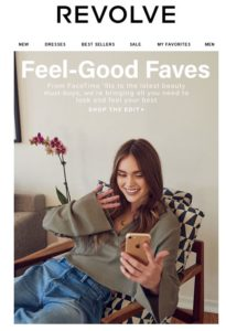 A marketing email from Revolve shows a girl using her smartphone for a video call.