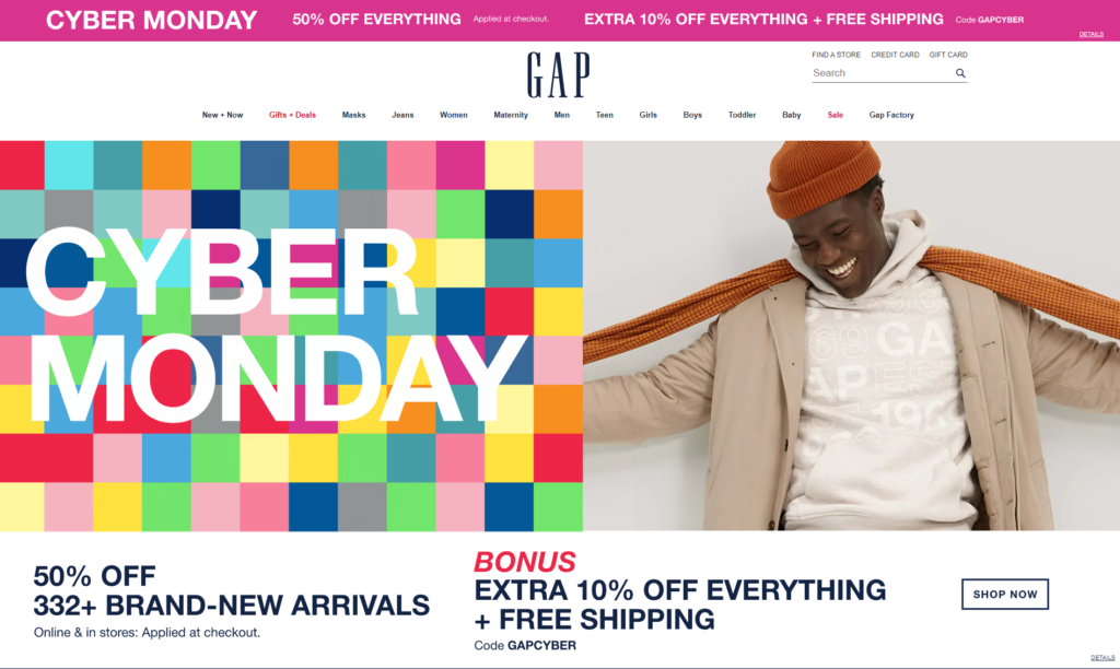 Gap's homepage promotes Cyber Monday sales.